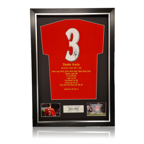 Denis Irwin Hand Signed #3 Career Honours Shirt in Deluxe Classic Frame