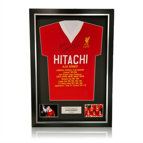 Alan Kennedy Hand Signed HITACHI Honours Shirt in Deluxe Classic Frame