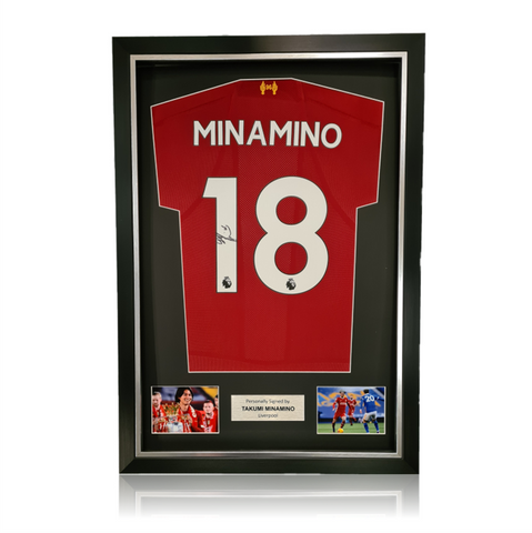 Takumi Minamino Hand Signed Liverpool 2019-20 Home Shirt in Deluxe Classic Frame