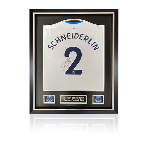 Morgan Schneiderlin hand signed Everton 2017-18 Away Shirt in Deluxe Classic Frame
