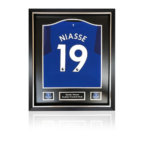 Oumar Niasse hand signed Everton 2017-18 Home Shirt in Deluxe Classic Frame