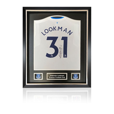 Ademola Lookman hand signed Everton 2017-18 Away Shirt in Deluxe Classic Frame