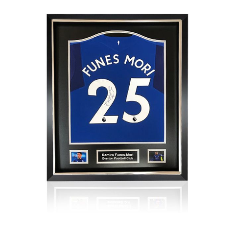 Ramiro Funes Mori hand signed Everton 2017-18 Home Shirt in Deluxe Classic Frame