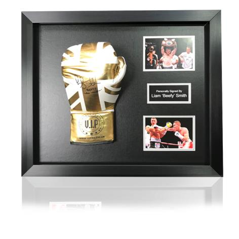 Liam Smith White/Gold Union Jack Hand Signed Boxing Glove In Classic Dome Frame