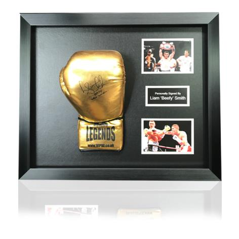 Liam Smith Gold Hand Signed Boxing Glove In Classic Dome Frame