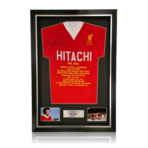 Phil Neal Hand Signed HITACHI Honours Shirt in Deluxe Classic Frame