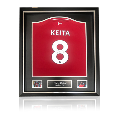 Naby Keita hand signed Liverpool 2018-19 Home Shirt in Deluxe Classic Frame