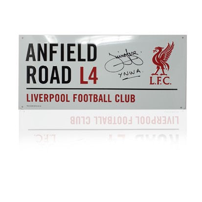 Jimmy Case Hand Signed 'Anfield Road' Metal Sign