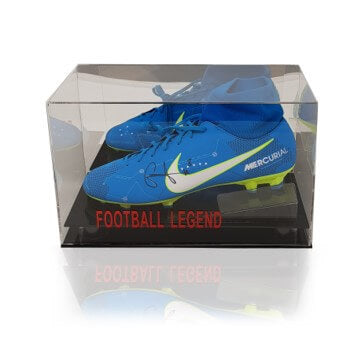 Naby Keita Hand Signed Blue Nike Mercurial Football Boot in Acrylic Display Case