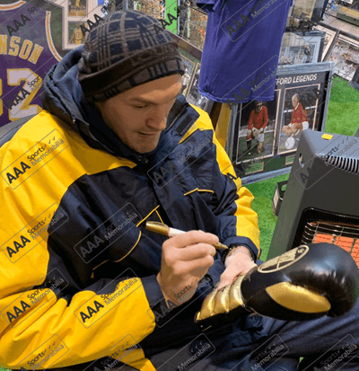 Tyson Fury Signed 'Gypsy King' Black/Gold Boxing Glove in Deluxe Classic Dome Frame