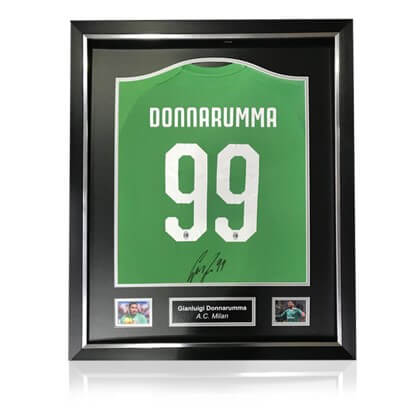Gianluigi Donnarumma Back Signed AC Milan Home Shirt in Deluxe Classic Frame