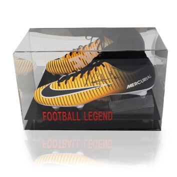 Naby Keita Hand Signed Orange Nike Mercurial Football Boot in Acrylic Display Case