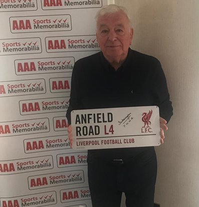 Ian Callaghan Hand Signed 'Anfield Road' Metal Sign