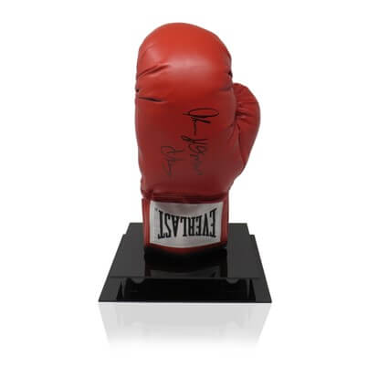 Thomas 'THE HITMAN' Hearns Signed Red Everlast Glove in Boxing Legend Display Case