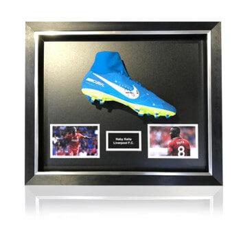 Naby Keita Hand Signed Blue Nike Mercurial Football Boot in Deluxe Classic Dome Frame