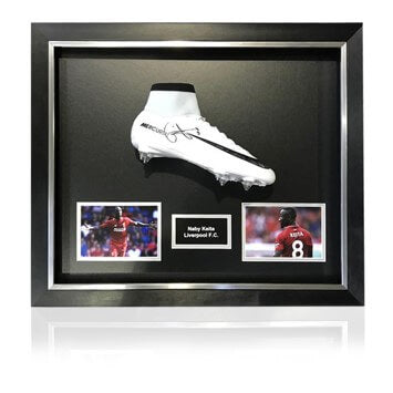 Naby Keita Hand Signed White Nike Mercurial Football Boot in Deluxe Classic Dome Frame