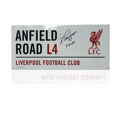 David Johnson Hand Signed 'Anfield Road' Metal Sign
