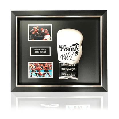 Mike Tyson Hand Signed Black/White 'Trademark' Tattoo Glove in Deluxe Classic Acrylic Dome Frame