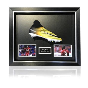 Naby Keita Hand Signed Orange Nike Mercurial Football Boot in Deluxe Classic Dome Frame