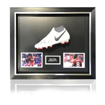 Naby Keita Hand Signed White Nike Phantom Football Boot in Deluxe Classic Dome Frame