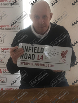 Phil Neal Hand Signed 'Anfield Road' Metal Sign