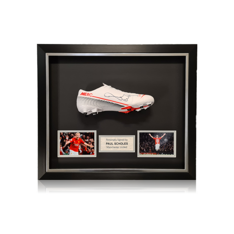 Paul Scholes Hand Signed #18 Career Honours Shirt in Deluxe Classic Frame