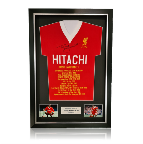 Terry McDermott Hand Signed HITACHI Honours Shirt in Deluxe Classic Frame