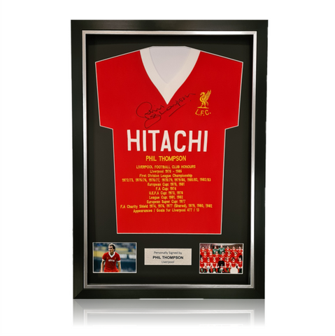 Phil Thompson Hand Signed HITACHI Honours Shirt in Deluxe Classic Frame