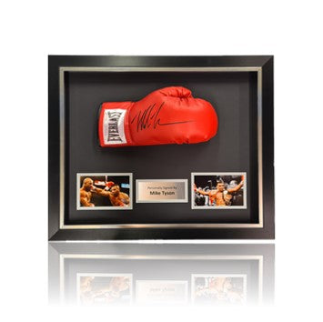 Mike Tyson Hand Signed Red Everlast  Glove in Deluxe Classic Acrylic Dome Frame