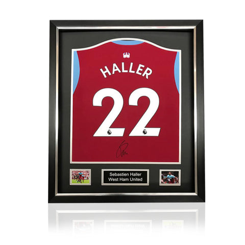 Sebastien Haller Hand Signed West Ham 2019-20 Home Shirt in Deluxe Classic Frame
