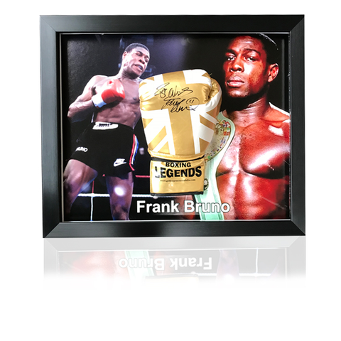 Frank Bruno Hand Signed Gold Union Jack 'Large Picture' Boxing Glove in Classic Acrylic Dome Frame