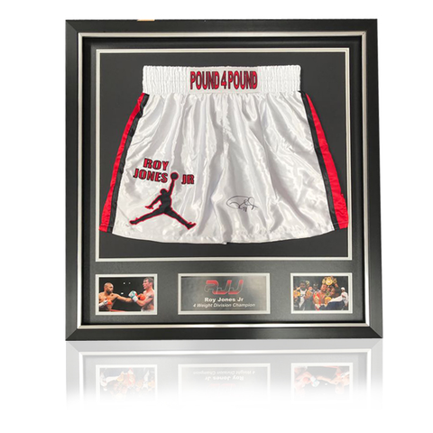 Roy Jones Jr (RJJ) White 'Pound4Pound' Boxing Shorts In Classic Deluxe Frame