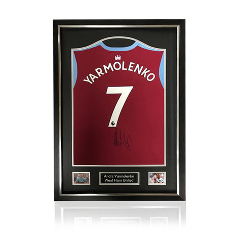 Andriy Yarmolenko Hand Signed West Ham 2019-20 Home Shirt in Deluxe Classic Frame