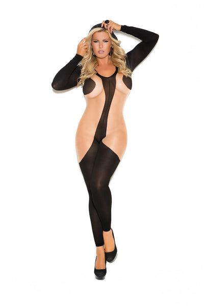 Hooded long sleeve bodystocking