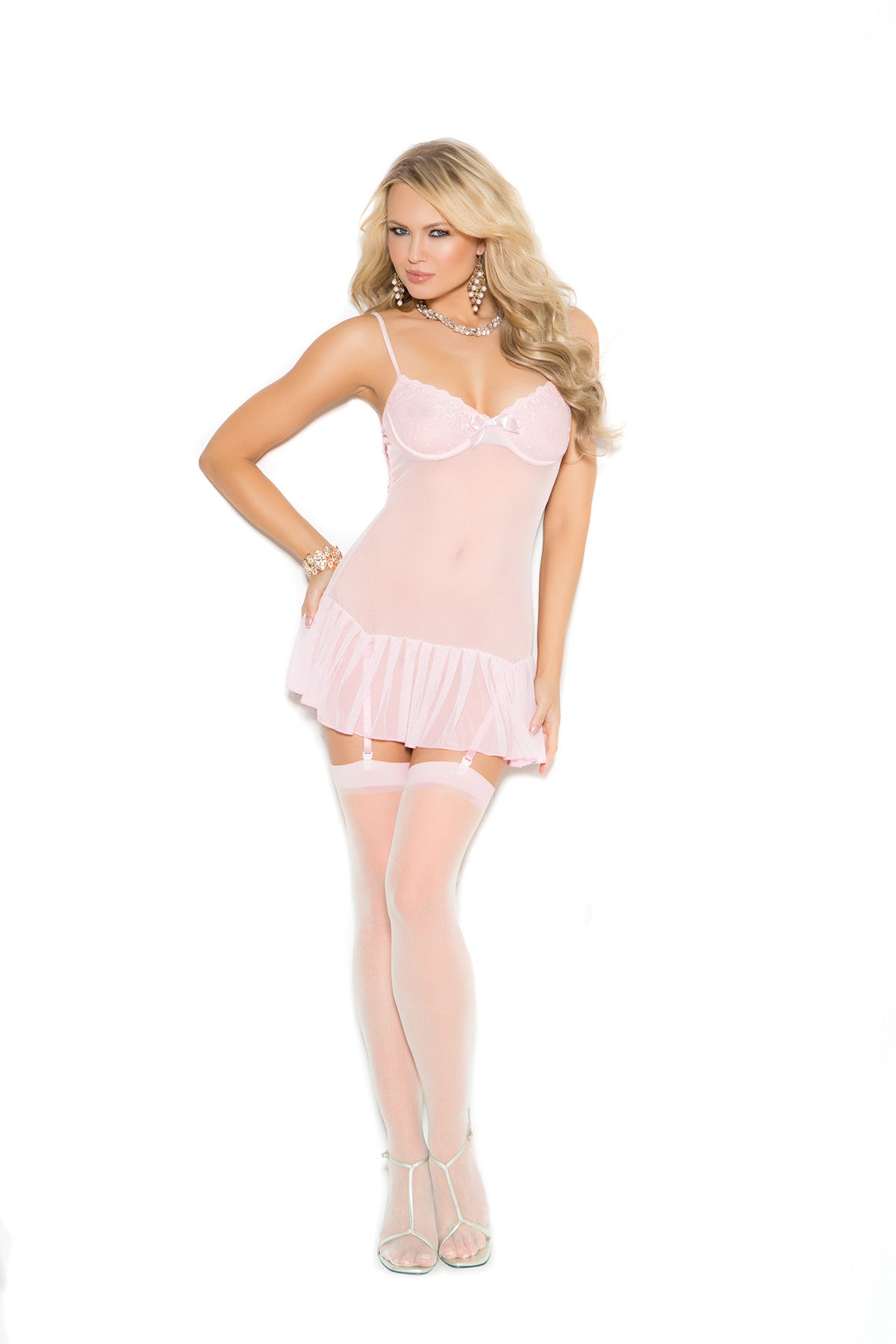 Mesh chemise embroidered set