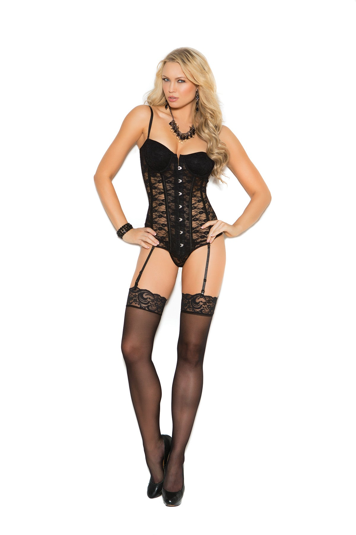 Lace bustier with underwire cups