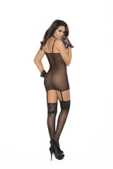 Satin chemise with lace overlay