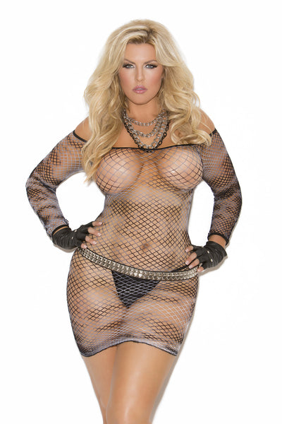 Diamond net mini dress.