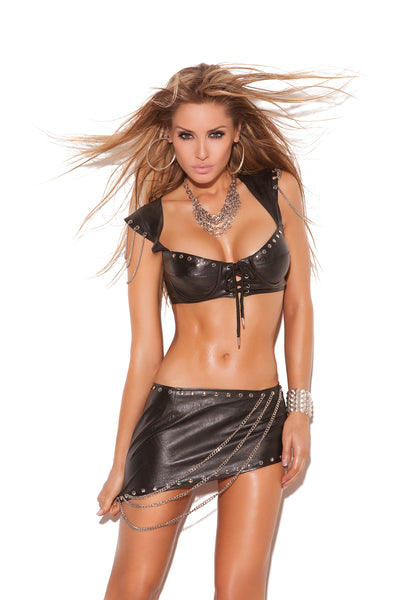 Leather underwire skirt set