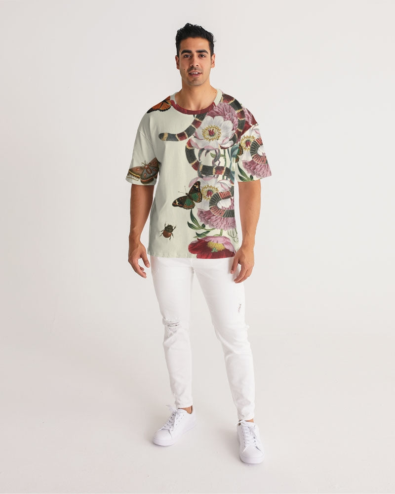 Snake On Flowers Men's Premium Heavyweight Tee