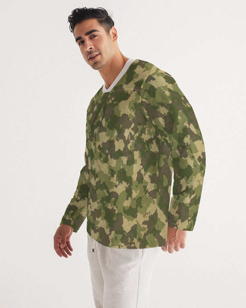 Military Green Men's Long Sleeve Sports Jersey