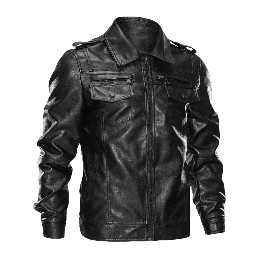 Motorcycle Mafia Mult-pocket Leather Jackets Fashion Biker Jacket Men Leather Jacket Fur Coat Winter Black Pure Color Zipper