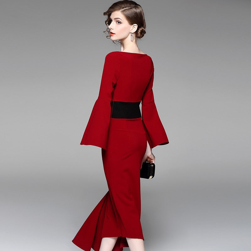 New irregular waist-tightening dress, red medium-length dress and dress for banquet dress in 2019