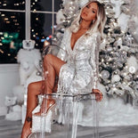 BE HYGGE 2020 Sexy Glitter Silver Tassel Dress Women Deep V-Neck Lace Up Long Sleeve Dress Female Shiny Slit Party Club Dresses