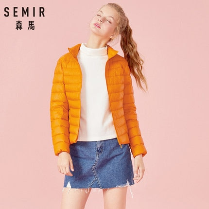 SEMIR 2019 Down Winter Jacket Women Cotton Short Jackets New Down Padded Hooded Warm Autumn Slim Coat Female Casual Tops
