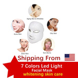 Ship From USA ,LED Facial Masks 7 Colors Photon Electric Therapy Whitening Skin Rejuvenation Anti Acne Wrinkle Beauty Treatments