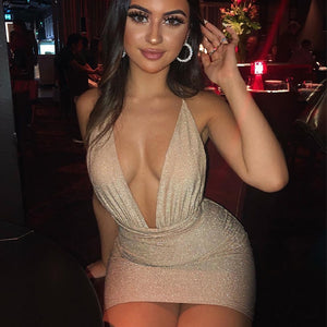 Deep V Neck Glitter Sexy Dress Cross Lace Up Bodycon Bandage Dress Women Backless Summer Mini Dresses Vestidos 2020
