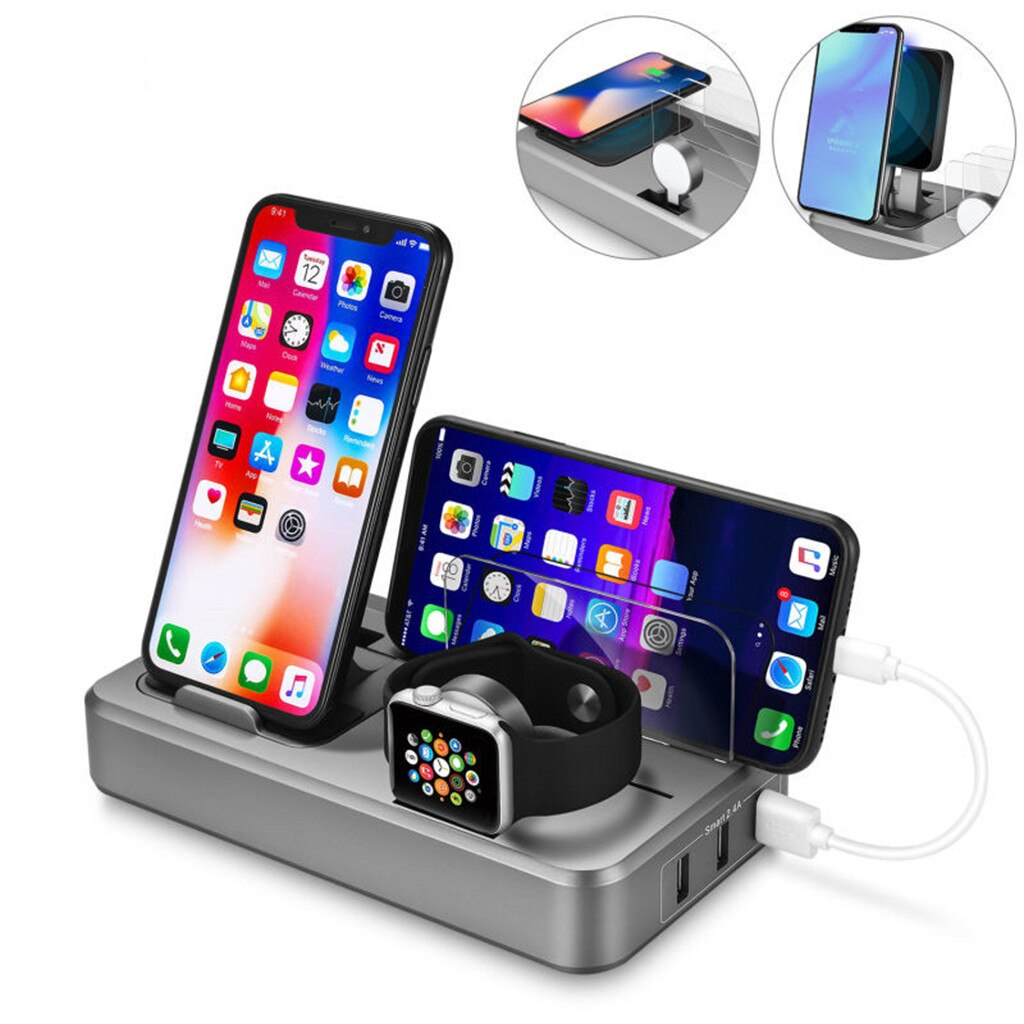 2 in1 10W Qi Wireless Charger For iPhone X 8 Plus 2 in 1 Fast Charging Pad Holder For Apple Watch iwatch 3 2 1 For Samsung S9 S8