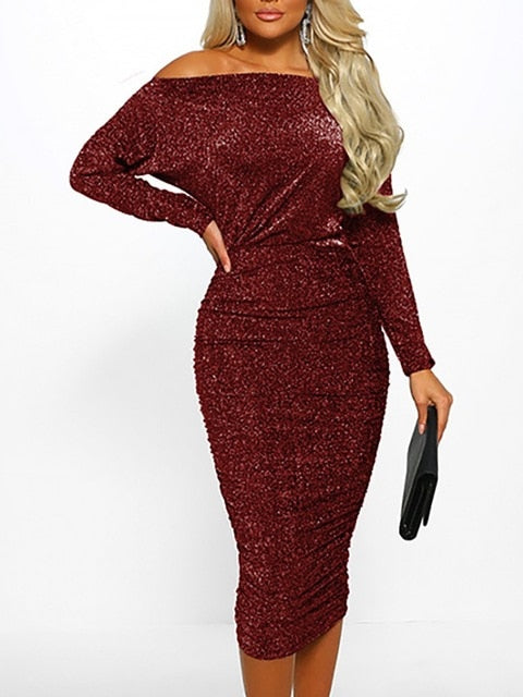 New arrival sexy solid Off Shoulder slim  Elegant Women Sexy Boat Neck Glitter Bodycon Dress Evening Party Formal Dress