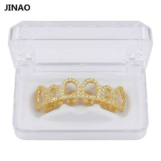 JINAO Hip Hop Teeth Grills Caps Micro Pave CZ Stone Six 6 Open Hollow Top & Bottom Set Men Women Teeth Grillz Ship From US